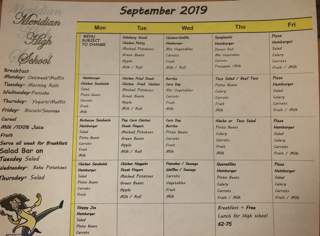 Sept. HS lunch menu