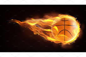 basketball w/flames