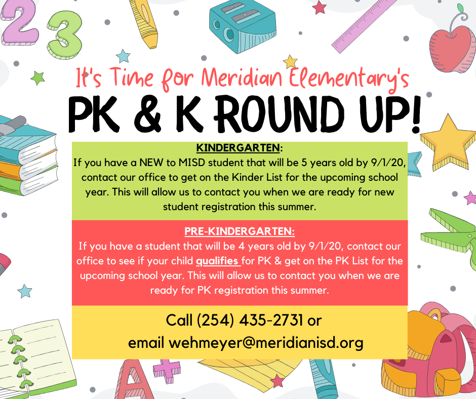 MMES PK and Kinder Round Up Information